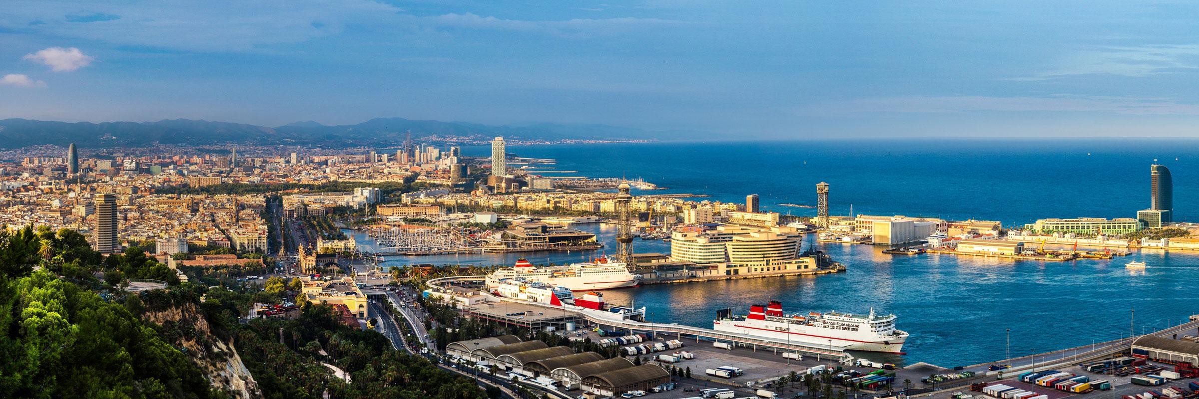 панорамный вид на Барселону