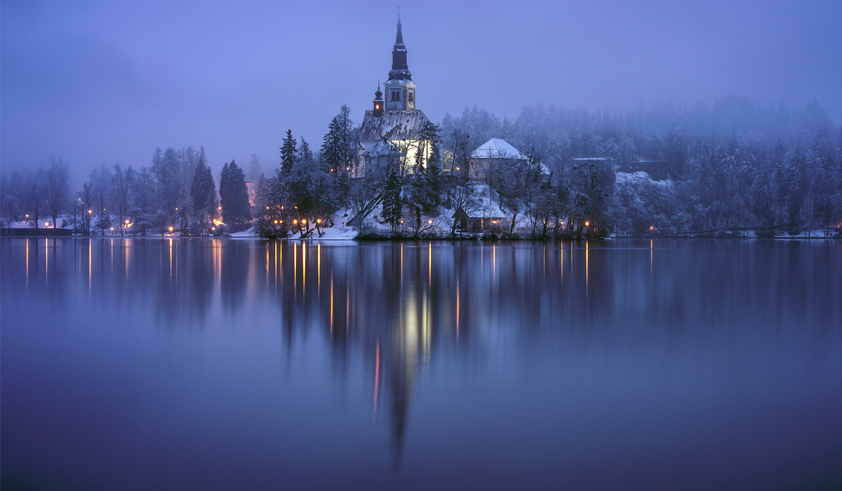 зима на озере Блед